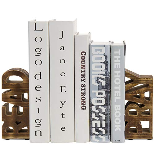 MyGift Rustic Burnt Brown Wood Tabletop Read amp Pray Decorative Bookends Set of 2