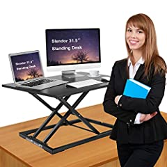 ✅ Standing desk converter,easy to sit or stand.Sleek, ergonomic design,it goes up and down with ease in a matter of seconds, with premium pump assisted lift.The height adjustable desk is extremely easy to operate even with heavy loads such as dual mo...