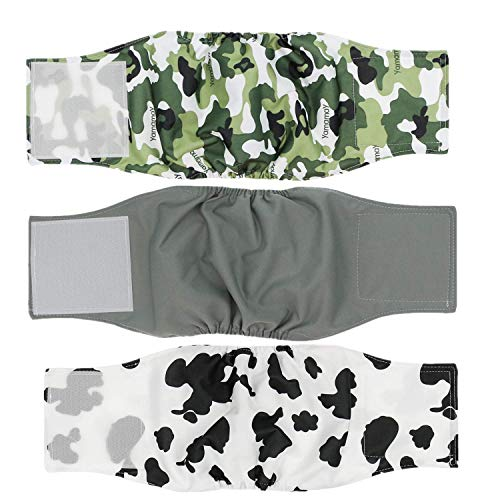 Cilkus Washable Male Dog Diapers (Pack of 3) - 2019 Male Dog Belly Wrap, Soft and Comfortable, with Adjustable Velcro Straps, Reusable Belly Bands M
