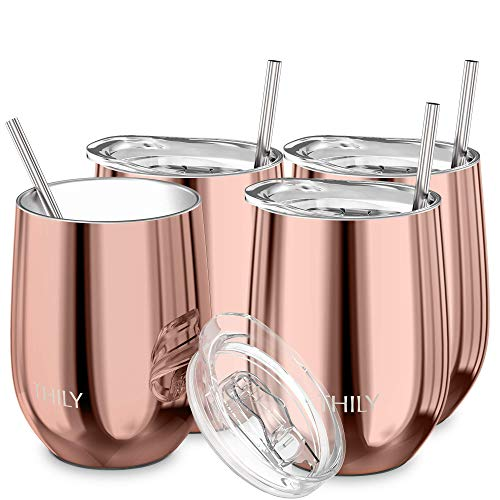 Wine Tumbler Vacuum Insulated Stemless - THILY 4 Pack Triple-Insulated Stainless Steel Wine Glass with Lid and Straw, Keep Cold or Hot for Coffee, Cocktails, Christmas Birthday Gift, Rose Gold