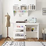 Folding Sewing Table, Sewing Machine Table with Storage Shelves, Adjustable Sewing Craft Cart with Hidden Bins Lockable Casters, Multifunctional Wood Sewing Cabinet Art Desk for Small Spaces, White