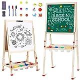 amzdeal Lavagna per Bambini Cavalletto Pittura in Legno a Doppia Faccia Supporto da Artistico Cavalletto per Bambini da 2 a 8 Anni, Regolabile in Altezza da 80 cm a 145 cm