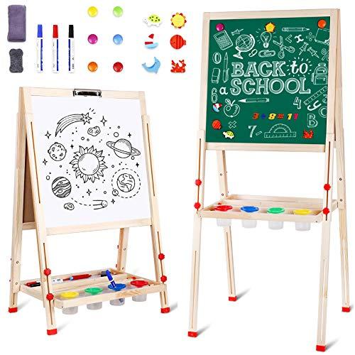 Kindertafel, Magnet Staffelei, Tafel Kinder Doppelseitige Standtafel für Kinder, Höhenverstellbar von 80 bis 145 cm, Weiß/Schwarze Tafel mit Papier Roll
