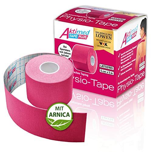 """AKTIMED Tape PLUS Kinesiologie Tape – Sporttape mit pflanzlichem Extrakt Arnica D6* – patentiertes Physiotape Dermatest """"sehr gut"""" – Kinesiologie Tapes elastisch & wasserfest (rosa)"""