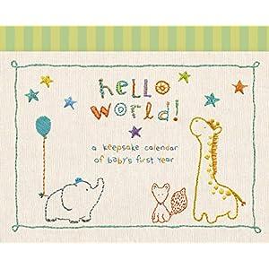 """C.R. Gibson Animals 'Hello World' Baby Calendar Baby First Year Tracker, 11"""" W x 18"""" H"""