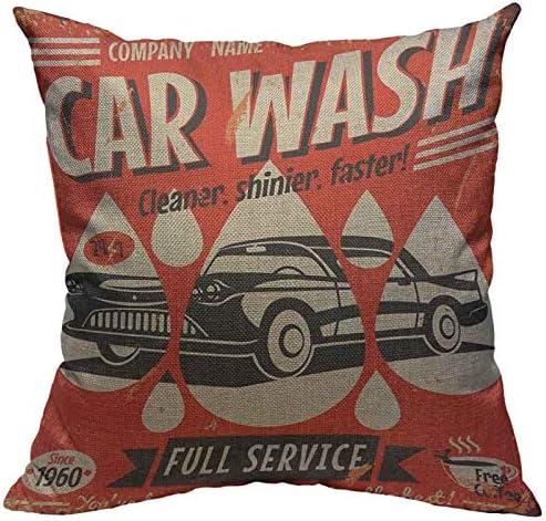 VERSUSWOLF Throw Pillow Covers Vintage Retro Car Wash Sign Garage Machine Cotton Linen Decorative product image