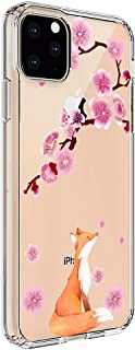Ftonglogy iPhone 11 Pro Max Case, Flexible Soft Non-Slip Shock Absorption Cute Clear TPU Back with Cherry Blossoms Floral Flower Pattern Protective Phone Case Cover for iPhone 11 Pro Max (Lucky Fox)