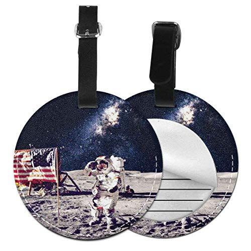 Top-T American Cosmonaut with USA Flag On Moon Digital Pilot Space Discovery Photo,Leather Baggage Tag