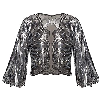 BABEYOND 1920s Sequin Shawl Wrap Gatsby Beaded Evening Cape Flapper Bolero Shrug  Black Silver Large