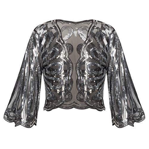BABEYOND 1920s Sequin Shawl Wrap Gatsby Beaded Evening Cape Flapper Bolero Shrug (Black Silver, Small)