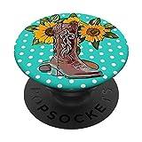 Adorable botte de cowgirl en forme de tournesol - Idée cadeau PopSockets PopGrip Interchangeable
