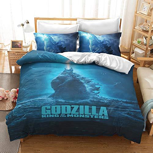 Godzilla Juego de Funda de Edredón de 3 Piezas para Cama Individual 3D Impresa Juego de Ropa de Cama Microfibra Niños Adulto Funda Nórdica 135x200 cm y 2 Fundas de Almohada 50x75 cm
