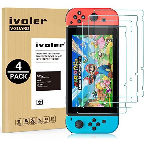 ivoler [4 Unidades] Protector de Pantalla para Nintendo Switch, Cristal Vidrio Templado Premium
