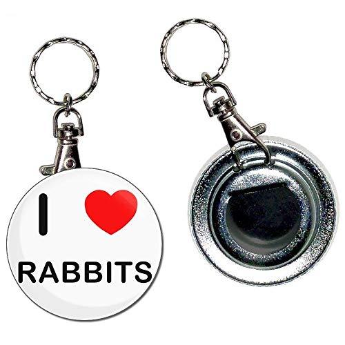 BadgeBeast.co.uk I Love Rabbits - Portachiavi apribottiglie portachiavi con bottone distintivo da 55 mm