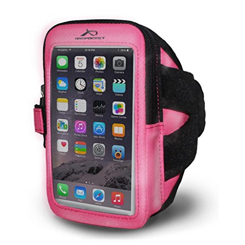 Armpocket Ultra i-35 Highly Reflective Phone Armband, Pink, Medium Strap – Compatible with iPhone 12 Mini, 8/7/6, Galaxy S9/S8, Pixel 5, or Phones up to 6 Inches