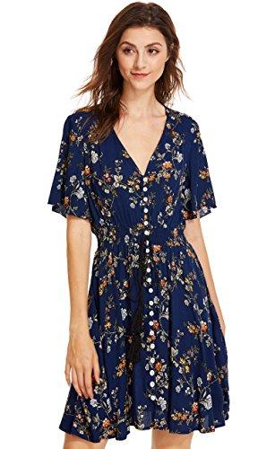 Milumia Women's Boho Button Up Split Floral Print Flowy Party Dress Medium Multicolor-Blue
