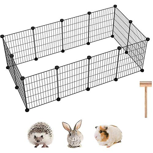 """C&AHOME Pet Playpen, 12 PCS Exercise Small Animals Playpens Cage, Portable Yard Fence Indoor Ideal for Guinea Pigs, Puppy Pet Products, DIY Metal Yard Fence 12"""" × 15"""" Black"""