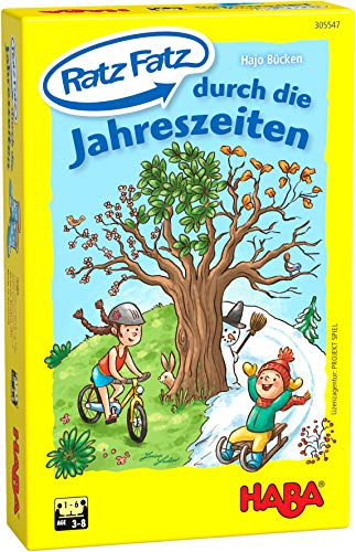 HABA 305547 - Ratz Fatz durch die Jahreszeiten, Spielesammlung mit 5 Lernspielen für Kinder ab 3 Jahren, Reaktionsspiele für 1 - 6 Spieler von 3 - 8 Jahren, Spieldauer 10 Minuten
