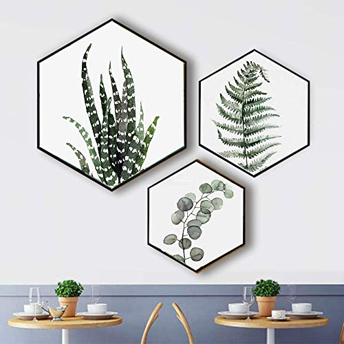 Canvas Wall Art Succulent Wall Decor 3 Pieces Tropical Palm Green Leaves Paintings Simple Wall Picture Set for Giclee Prints Canvas Art for Wall Decor(Random delivery in two styles)