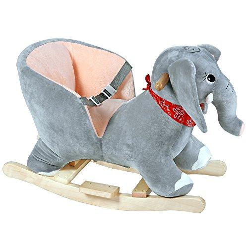 Deuba Schaukelelefant   Schaukeltier Plüsch Schaukel Wippe Pferd Einhorn Kinder Baby Spielzeug   Sound-Geräusche   inkl. Sicherheitsgurt   Balancetraining   besonders weich - 8