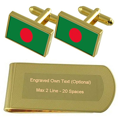 Bangladesh Bandera tono Oro gemelos Money Clip grabado Set de regalo