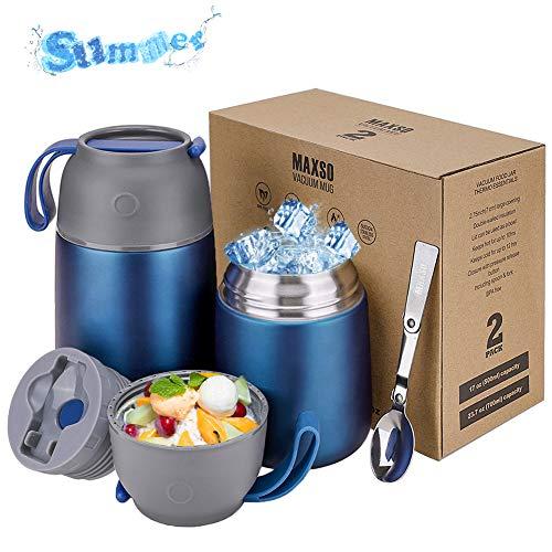 Thermoskan 500 & 700 ml | Roestvrijstalen warmhoud container voor voedsel, gerechten, babyvoeding, soep, pap, fruit, yoghurt | Thermo onderweg | 2 geïsoleerde containers in de set (Pruisisch blauw)