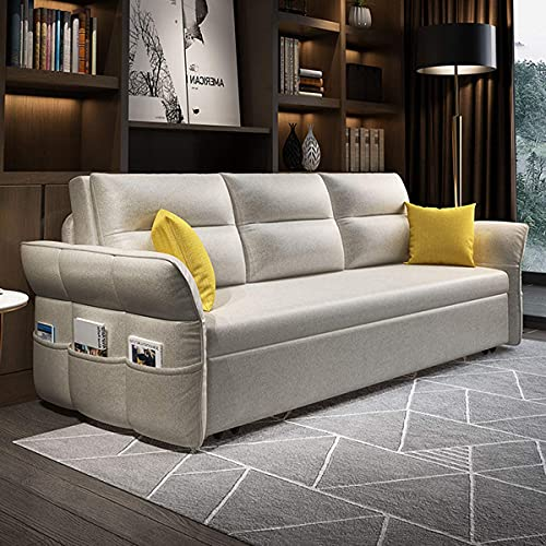 Home Equipment Sofa Cabrio Bett Modernes Klappsofa Ausziehbare Schlafcouch mit Seitentasche und Aufbewahrungsbox Funktion Einstellbarer Komfort Winkel der Rückenlehne für Wohnzimmer Apartment hellg