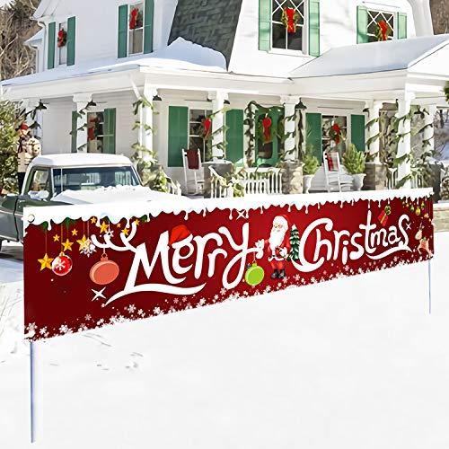"QOR Balance 2020 Merry Christmas Flag - Santa Claus Banner Outdoor Decorations - Xmas Gift Banner Sign - Yard, Advertising, Outdoor & Indoor Hanging Decor - 98"" x 18"""
