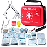 Compact First Aid Kit - Mini Survival Tools Box - Waterproof Outdoor Medical Emergency Bag Lightweight for...