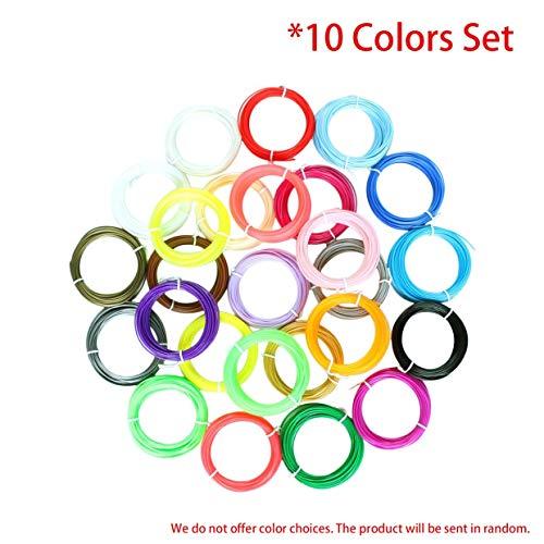 MXECO 10 Farben Druck Filament Set 1.75mm PLA Filament 10M oder 5M / Roll-3D-Drucker Verbrauchsmaterial Materialien für 3D-Druck-Feder (10 Farben (5M je Farbe))