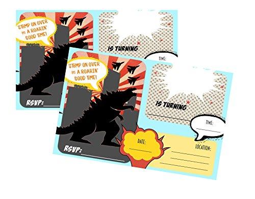Godzilla Birthday Party Invitations (Pack of 12)