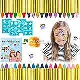Kesote 36 Pintura Cara para Niños Lápiz de Colores con Plantillas de Tatuaje Maquillaje Facial Corporal para Fiesta Carnaval Pascua Halloween Navidad Cosplay