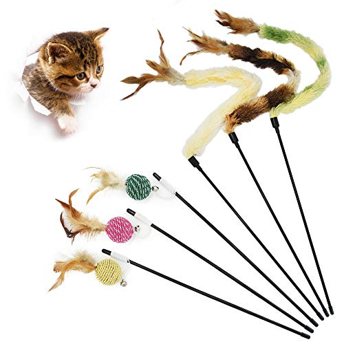 Juguete de la Pluma del Gato, Gato Juguete Interactivo Cat Varita, Varita de Juguete para Gato, Gato Juguete interactivo juguete con plumas(6pcs)