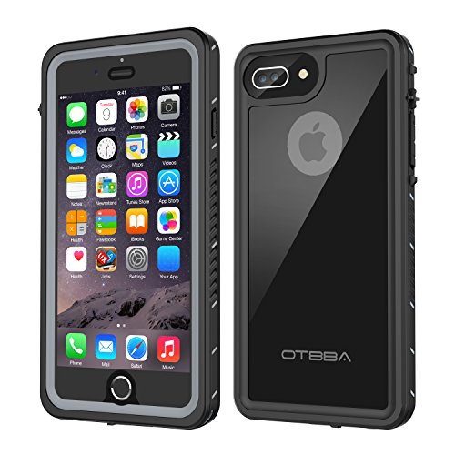 OTBBA iPhone 7 Plus/8 Plus Waterproof Case, Underwater Snowproof Dirtproof Shockproof with Touch ID Full Sealed Cover Waterproof Case for iPhone 7 Plus/8 Plus-5.5in (Black)