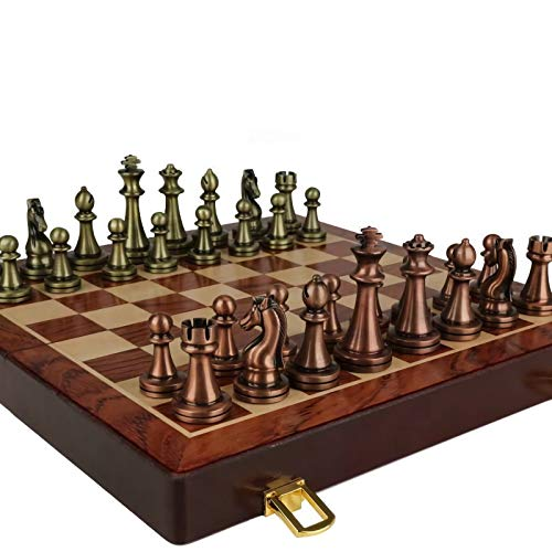 12 Inches Chess Set with Folding Wooden Chess Board and Classic Handmade Standard Pieces Metal Chess Set for Kids Adult