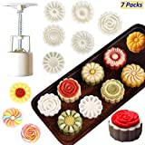 Mooncake Mold DIY Cookie Stamps - Mid Autumn Festival Hand Flower Mooncake Press Molds Cupcake Stamps for Cookies, Cake Cutter Mold Cookie Press Moon Cake Mould with 6 Stamps 50g