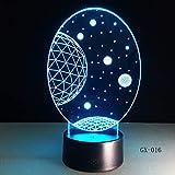 3D Visual Planet LED Illusion Night Lights Mesa Universe Lámparas táctiles de acrílico que cambian la luz nocturna USB Light
