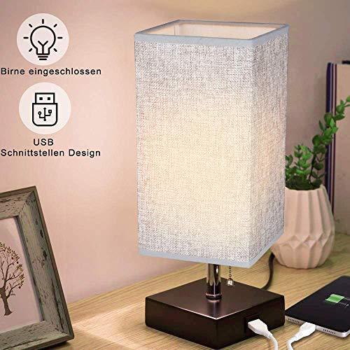 Skandinavisch Tischlampe aus Holz mit Zugschalter, 3000k Warmweiß, E27-Fassung, Vintage Nachttischlampe mit EU-Stecker für Wohnzimmer, Kinderzimmer, Schlafzimmer, Esszimmer Eckig