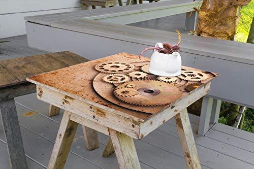 Wallario Aufkleber Selbstklebende Garten-Tisch-Decke - Zahnräder Einer Alten Uhr im Alten Stil in 70 x 70 cm