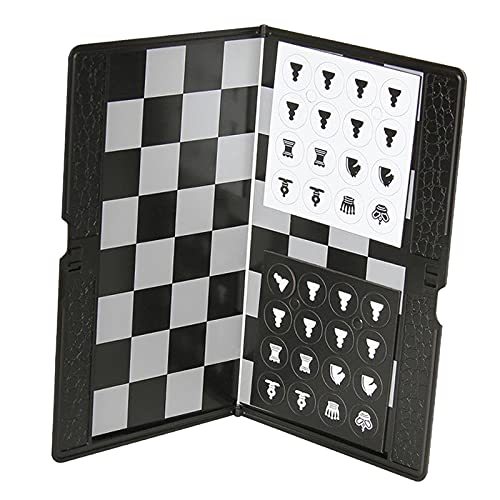 Hellery Juego de ajedrez magnético Plegable, Mini Bolsillo para Estudiantes Mini portátil Divertido Juego de Mesa magnético Plegable para Viajes