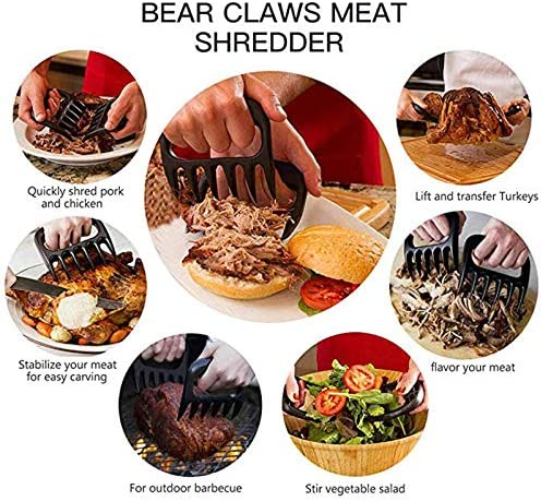Bear Claws Handler Forks Manual Pull Meat Shred Pork Clamp Torréfaction BBQ Fork Kitchen Knives Tool Black