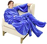 "Catalonia Wearable Fleece Blanket with Sleeves & Foot Pockets for Adult Women Men, Micro Plush Wrap Sleeved Throw Blanket Robe Large 75"" x 53"""