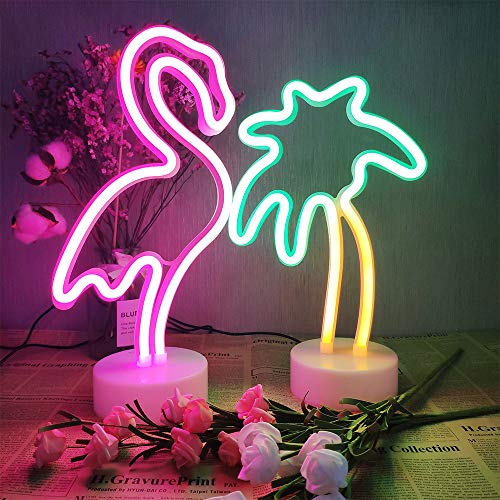 2 Packs Decoration Neon Signs Light Pink Flamingo and Green Palm Tree Neon Wall Decor Lights USB/Battery Powered Neon Lights for Bedroom Girls Kids Birthday Party Christmas (Flamingo&Palm Tree)