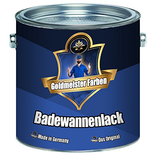 Goldmeister Farben 2 Komponenten Badewannenlack FARBAUSWAHL im SET Beschichtung für Keramik Emaille Acryl Badewanne Porzellan Stahl Fliesen Kunststoff GFK (1 L, Weiß)