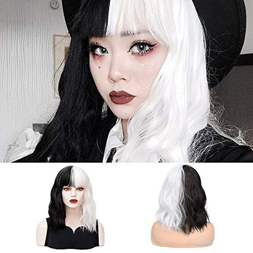 Black White Wigs with Bangs Short Curly Wavy Split Bob Wigs Synthetic Cosplay Costume Halloween Party Wigs for Women