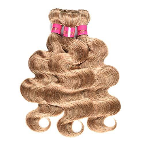"Brazilian Virgin Body Wave Bundles Human Hair #27 Honey Blonde Body Wave Brazilian Hair Weave 3 Bundles Remy Human Hair Extensions(14""16""18"")"