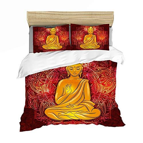 HLSM Bettwäsche-Set, Buddha-Statue, Glaube, inkl. Bettbezug, Kissenbezug, 3-teilig, Mikrofaser-Bettbezug, 3D-Digitaldruck, A04, Einzelgröße 135 x 200 cm