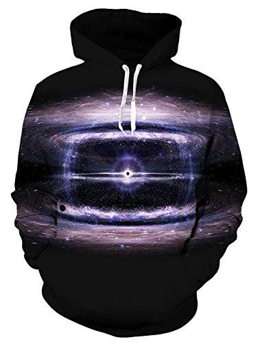 UNIFACO Mens Nebula 3D Digital Print Athletic Sweater Hoodie Hooded Sweatshirts with Velvet Plus Size Black