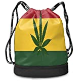 ewtretr Sacs à Cordon,Sac à Dos Weed Smoking Jamaican Flag Multifunctional Bundle Backpack...