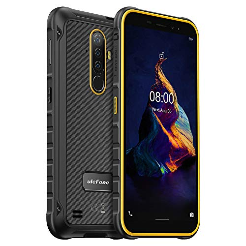 Teléfono Resistente Ulefone Armor X8, Android 10 Móvil IP68 Antigolpes, 4GB+64GB, 256GB SD Externa, 13MP Triple Cámara Subacuática, Batería 5080mAh, Huella Digital NFC GPS, Pantalla HD+ 5.7' Naranja